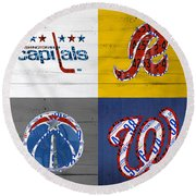 Washington Dc Sports Fan Recycled Vintage License Plate Art Capitals Redskins Wizards Nationals Round Beach Towel by Design Turnpike