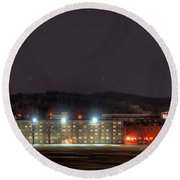 Washington Hall At Night Round Beach Towel