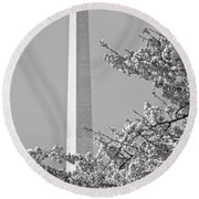 Washington Monument Amidst The Cherry Blossoms Round Beach Towel