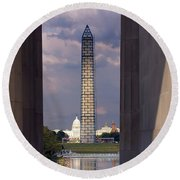Washington Monument And Capitol 2 Round Beach Towel