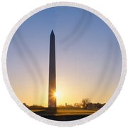 Washington Monument At Sunrise Round Beach Towel