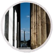 Washington Monument Color Round Beach Towel by Angela DeFrias
