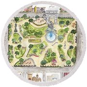 Washington Square Park Map Round Beach Towel