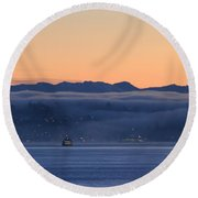 Washington State Ferries At Dawn Round Beach Towel by E Faithe Lester