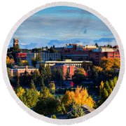 Washington State University In Autumn Round Beach Towel
