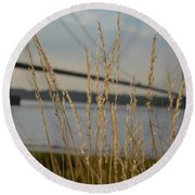 Wasting Time By The Humber Round Beach Towel