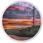 Watauga Lake Sunset Round Beach Towel