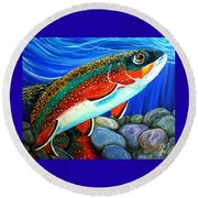 Brook Trout  Round Beach Towel by Jackie Carpenter