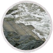 Round Beach Towel featuring the photograph Watch Your Step by Brenda Brown