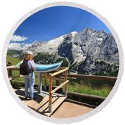 watching Marmolada mount Round Beach Towel