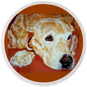 Watching Over Me Round Beach Towel