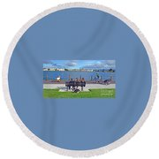 Round Beach Towel featuring the photograph Watching The Bikes Go By At Congressman Leo Ryan's Memorial Park by Jim Fitzpatrick