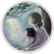 Watching The Moon Round Beach Towel
