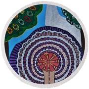 Watching The Show Round Beach Towel by Barbara St Jean