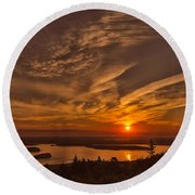 Watching The Sunrise Round Beach Towel