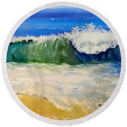 Watching The Wave As Come On The Beach Round Beach Towel