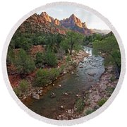 Watchman Sunset Round Beach Towel
