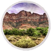 Round Beach Towel featuring the photograph Watchman Trail - Zion by Tammy Wetzel