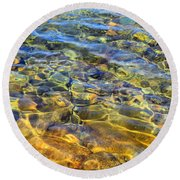 Water Abstract Round Beach Towel by Lynda Lehmann