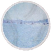 Water At Cannes France Round Beach Towel