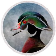 Water Color Wood Duck Round Beach Towel by Steve McKinzie