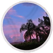 Water Colored Sky Round Beach Towel