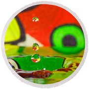 Round Beach Towel featuring the photograph Water Dew by Peter Lakomy