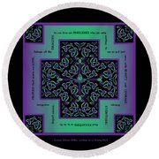 Water Dragon Celtic Cross Round Beach Towel