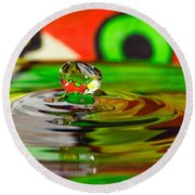 Round Beach Towel featuring the photograph Water Drop by Peter Lakomy