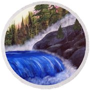 Round Beach Towel featuring the painting Water Fall By Rocks by Brenda Brown