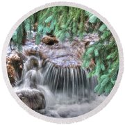 Water Falling I Round Beach Towel