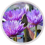 Round Beach Towel featuring the photograph Water Flower 1006 by Marty Koch