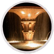 Water Fountain At Night Round Beach Towel