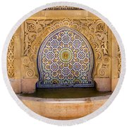 Round Beach Towel featuring the photograph Water Fountain Mausoleum Of Mohammed V Opposite Hassan Tower Rabat Morocco  by Ralph A  Ledergerber-Photography