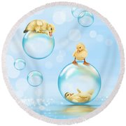 Water Games Round Beach Towel