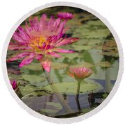 Water Garden Dream Round Beach Towel