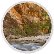 Round Beach Towel featuring the photograph Water In The Narrows by Bryan Keil