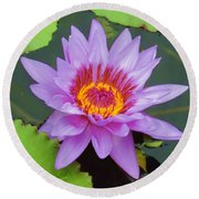 Water Lilies 005 Round Beach Towel