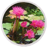 Water Lilies 008 Round Beach Towel