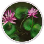 Round Beach Towel featuring the digital art Water Lilies by Christine Fournier