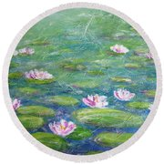 Water Lilies Round Beach Towel