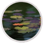 Water Lilies  Nymphaeaceae  On A Pond Round Beach Towel