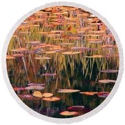 Water Lilies Re Do Round Beach Towel
