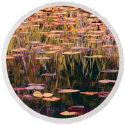 Water Lilies Revisited Round Beach Towel