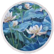 Water Lilies Two Round Beach Towel