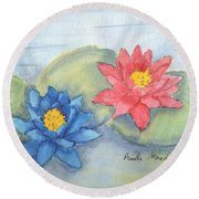 Water   Lillies  Round Beach Towel by Pamela  Meredith