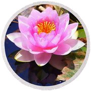Water Lily In Pink Round Beach Towel