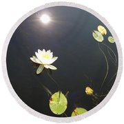 Water Lily Round Beach Towel by Laurel Best