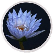 Water Lily Shades Of Blue And Lavender Round Beach Towel