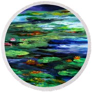 Water Lily Somnolence Round Beach Towel